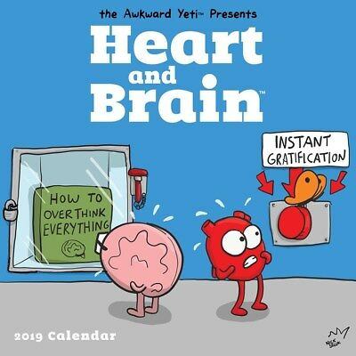 Heart and Brain 2019 Square Wall Calendar by Andrews McMeel, Postage Included