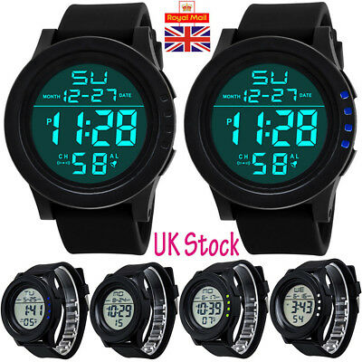 UK Mens Digital Sports Watch LED Screen Large Face Military Waterproof Watches