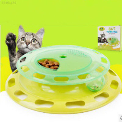EAA1 Pet Cat Food Treat Dispenser Turntable Teaser Activity Play Interactive Toy