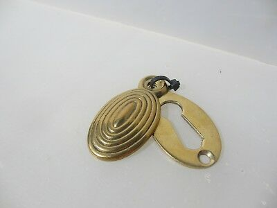 Vintage Beehive Brass Keyhole Cover Escutcheon Plate Antique Old Reeded