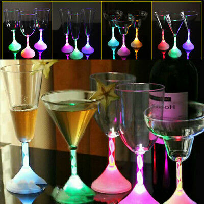 10B6 B5DB Led Flashing Red Wine Cup Color Changing Light Bar Water Cocktail Cups