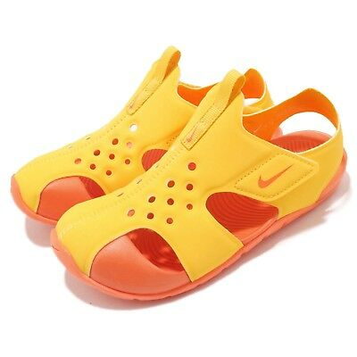 ed1bd1d106d711 Nike Sunray Protect 2 PS II Tour Yellow Orange Preschool Kids Sandal  943826-700