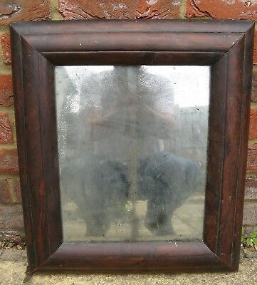 Fine Early 18th Century Rosewood Cushion Mirror Distressed Glass