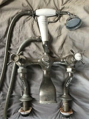 Antique Solid Nickel Bath Taps With Shower Hose Victorian Vintage Mixer