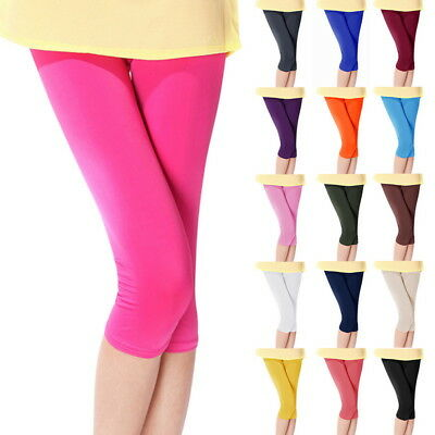 Fashion Womens Cropped Pants 3/4 Leggings Yoga Fitness Stretchy Pants Trousers