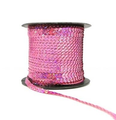 Holographic Light Pink 6mm Sequin Trim String Flat Round Costume (1/3/5/10/90M)