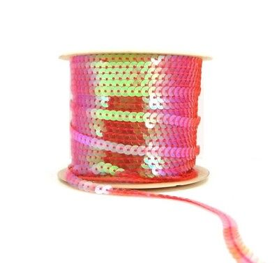 AB Transparent Pink 6mm Sequin Trimming String Flat Round Costume (1/3/5/10/90M)