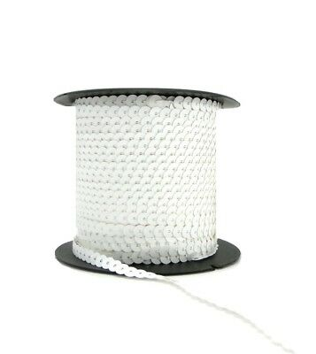 White 6mm Sequin Trimming String Flat Round Costume Craft (1/3/5/10/90M)