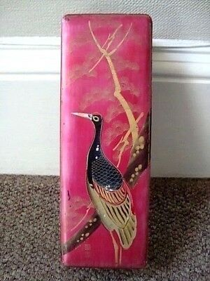Antique Signed Japanese Lacquer Glove Scroll Pencil Box Metallic Pink Bird