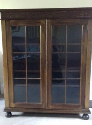 1920s/30s Glass Front Bookcase Display Cabinet
