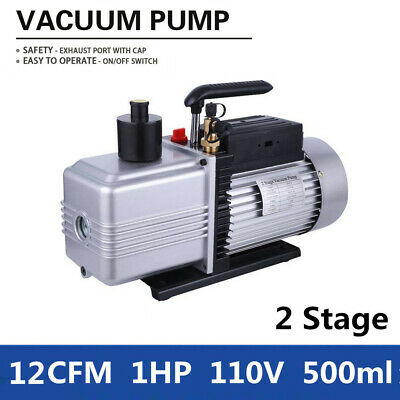 2-Stage 12CFM Rotary Vane Vacuum Pump for Refrigerator Air Conditioning 1HP 110V