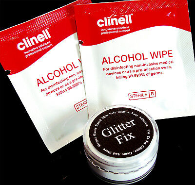 Cosmetic Glue Glitter Adhesive & 2 Remover Wipes Face Body Festival Skin Safe UK