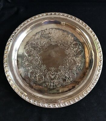 TUPPERWARE ROSE by WM ROGERS Mfg Co IS silver plate SERVING TRAY plate 13""