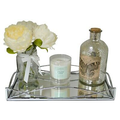 Silver Metal Rectangular Serving/Dressing Table Tray With Mirror Glass