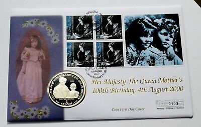 2000 Gibraltar Queen Mother Silver Proof One Crown Coin cover