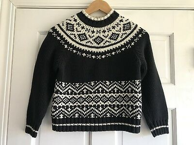 Hanna Andersson Black Fair Isle Nordic Knit Sweater Youth Size 130 8