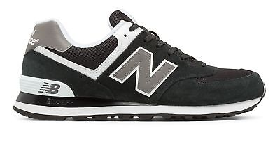 New Balance Men's 574 Classics Shoes Black with Grey & White