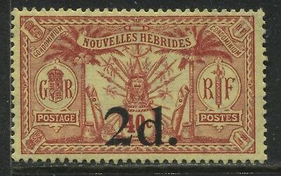 New Hebrides 1920 2d overprinted on 40 centimes mint o.g.