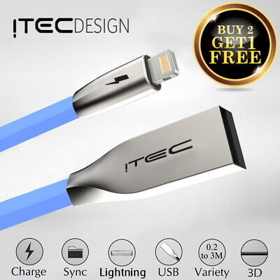 Heavy Duty iTec Alloy Lightning USB Charger Cable For iPhone XR X Xs Max 8/7/6/5