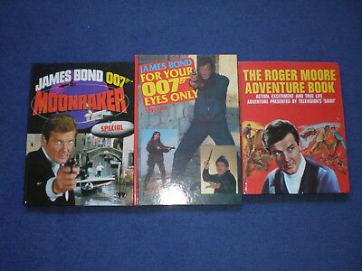 3 x ROGER MOORE JAMES BOND ANNUALS FOR YOUR EYES MOONRAKER