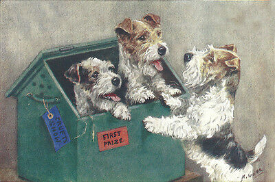 Wire Fox Terrier Puppy Dogs by Mabel Gear 1940's LARGE  8 New Blank Note Cards