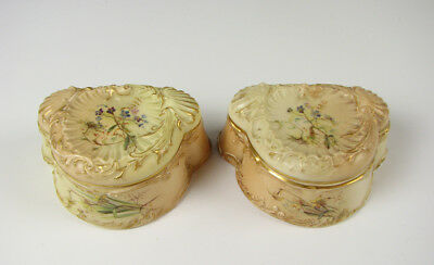 Pair of Antique Royal Worcester small Hand Painted Dresser Trinket Boxes 19th C