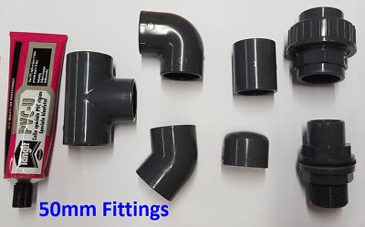 50mm PVC Pipe Solvent Weld and Fittings; Tee, Elbow, Socket, Joiner, Cap etc.