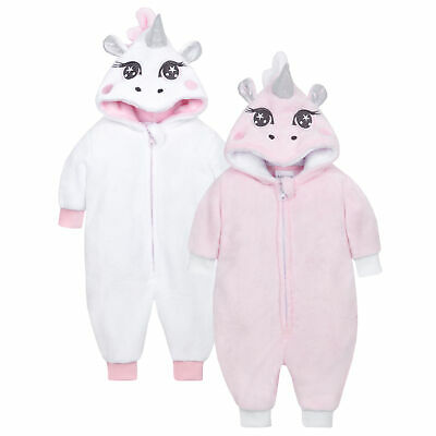 Baby Girls Unicorn Sleepsuit All In One Fluffy Hooded Novelty Soft PJ Newborn