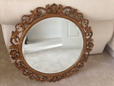 "Beautiful large vintage gold, round, bevelled mirror 24"" diameter"