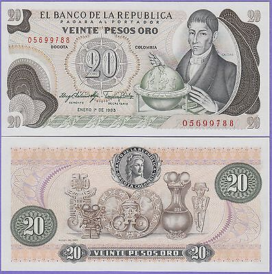 Colombia 20 Pesos Oro Banknote 1.1.1983 Uncirculated Condition Cat#409-D-5699682