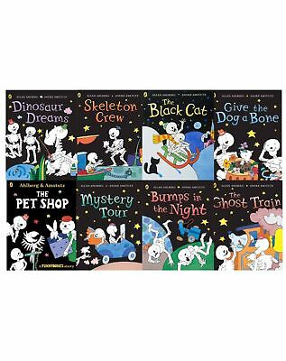 Funny Bones Collection By Allan Ahlberg 8 Books Set Ghost Train, Skeleton Crew
