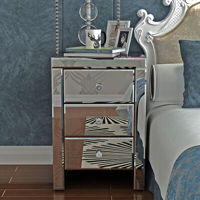 3 Drawers Bedside Cabinet Table Bedroom Nightstand Mirrored Crystal Glass