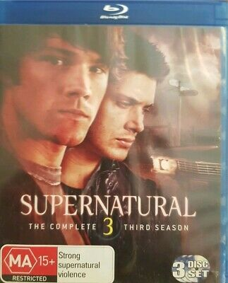 SUPERNATURAL - Season 3 3 x Disc BLURAY Set Exc Cond Complete Third Season Three
