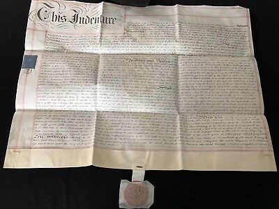 Antique Vellum Lease Dated 22nd July 1835 With Impressive Large Wax Seal  (24)