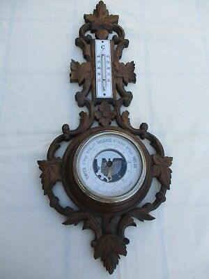 "Antique French Hand Carved Wood Black Forest Wall Barometer Thermometer 21"" Tall"