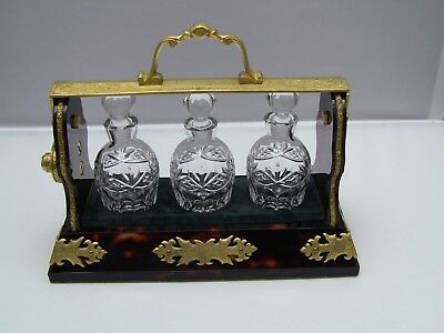 BETJEMANN'S Patent 15223 Small Faux Tortoiseshell Tantalus with 3 Decanters