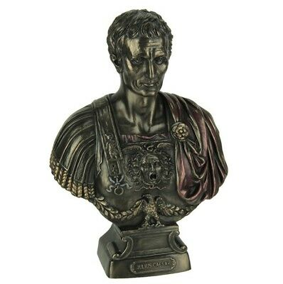 "Ancient Roman Emperor Julius Caesar 8"" Cold Cast Bronze Statue Sculpture Bust"