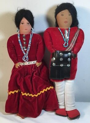 2 Vtg Handmade Stuffed Cloth Navajo Indian Couple Doll Painted Face