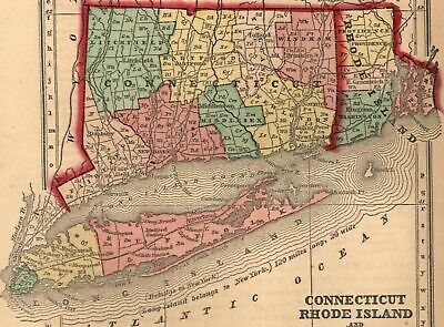 Connecticut Rhode Island 1858 Gaston antique U.S. state map old hand color