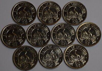 Uganda 10 Coins Lot 50 Cents 1976 KM#4a XF-UNC SCARCE YEAR TYPE