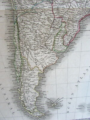 South America continent scarce c.1830 Lapie large old engraved folio map