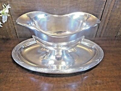 "STUNNING CHRISTOFLE ""RUBANS"" silver plate SAUCE/GRAVY BOAT ATTACHED BASE"