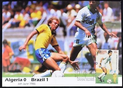 St. Vincent 1986 World Cup Football Maximum Card Algeria V Brazil #C49480