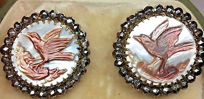 Antique Victorian Georgian French Cut Steel & Mother Of Pearl Bird Earrings