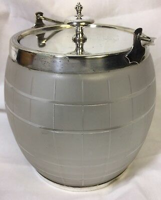 Antique Mappin & Webb Biscuit Barrel Art Deco Glass Silver Plate Prince'S Plate