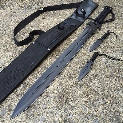 "New 3PC COMBO 27"" Full Tang Ninja Sword & Two (2) 6"" throwers with sheath"