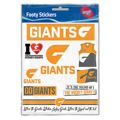 Official AFL Greater Western Sydney Giants Footy Stickers Sticker Sheet Pack