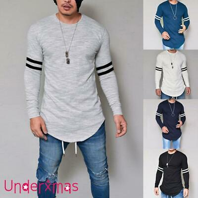 UK Men's Striped Long Sleeve Shirt Slim Fit Casual Muscle Tops Winter Autumn Tee