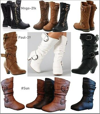 Girls Kid Youth Zipper Buckle Slouch Round Toe Midcalf Winter Boot Shoes USA