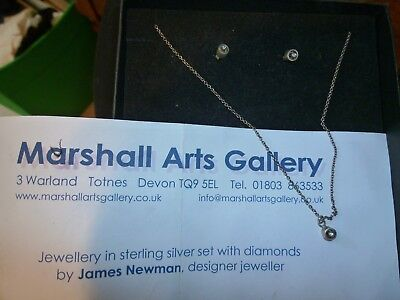 Beautiful timeless silver & diamond earrings / necklace by James Newman designer